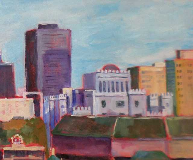 Red Stick Skyline, acrylic by Kay Lusk.JPG
