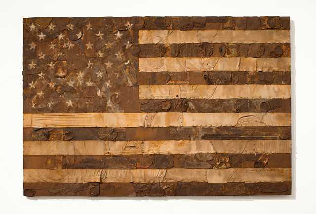 7302-William-Monaghan,--Stripes-and-Stars,-1973,-Steel-aluminum-clothing-paint-on-wood-panel,-48-in-x-72-in.jpg