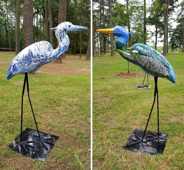 Herons on the Bayou in Monroe art sculpture
