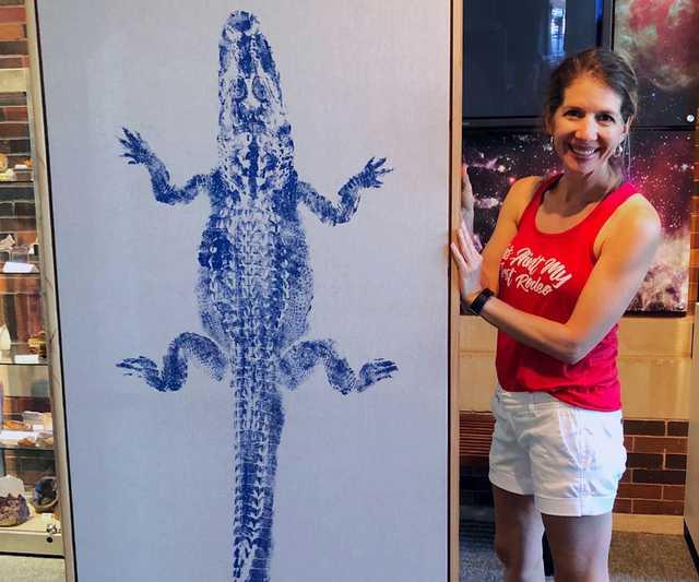 gyotaku art gator lasm giving tuesday Leslie Charleville