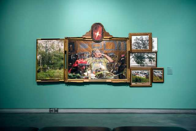 Letitia Huckaby, East Feliciana Altarpiece, 2010, pigment print on silk, Courtesy of Artist_installation photo at LSU MOA.jpg