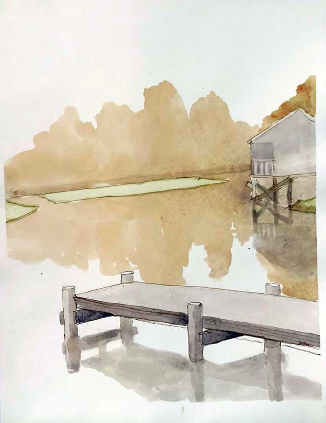 Kathryn-Keller-Lake-Fausse-Point-3.10.2020-2020-Watercolor-on-Paper-16-by-12-inches.jpg