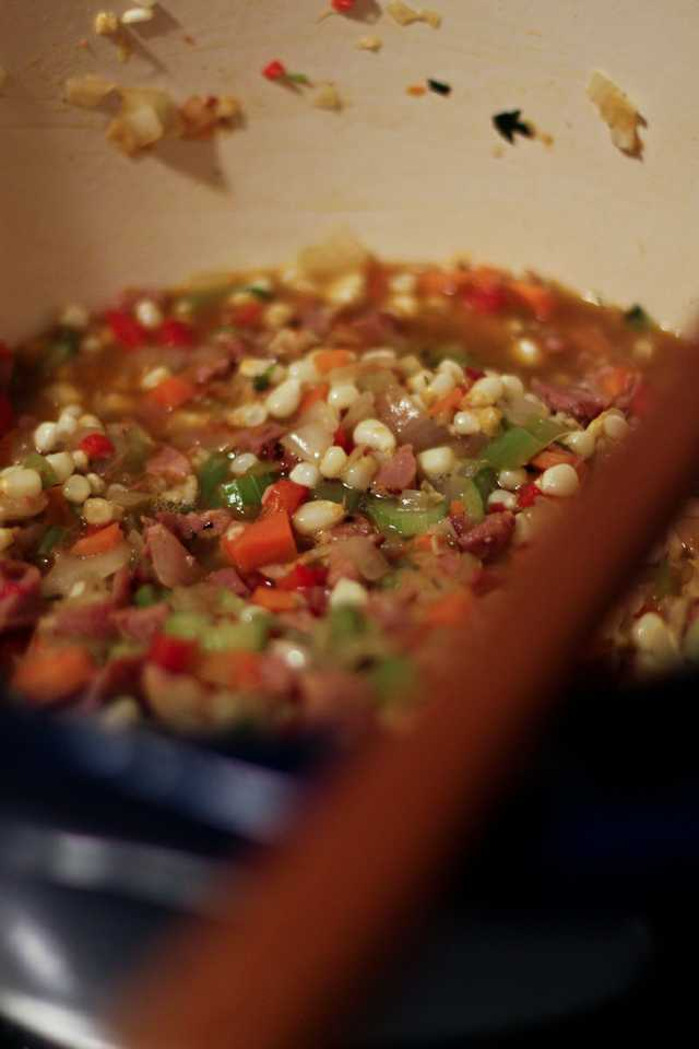 creole crawfish and tasso chowder - simmering in pot.jpg