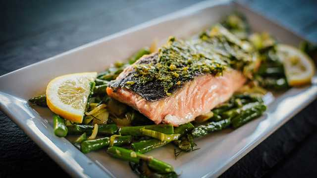 Spring Sautée and Seared Salmon