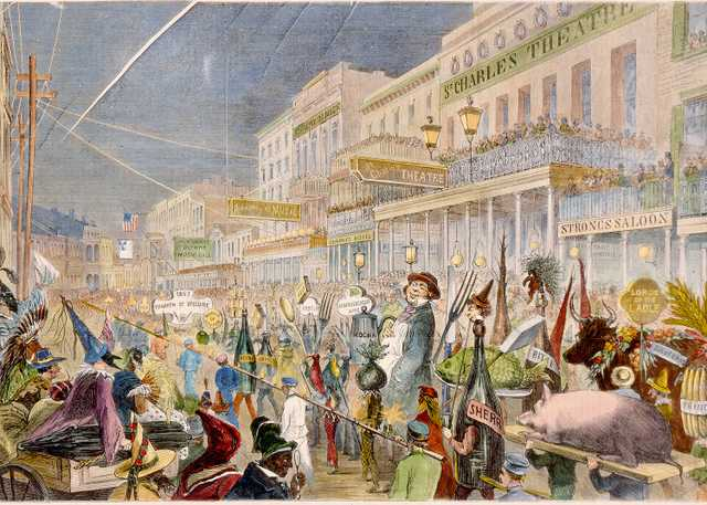 """Procession of the """"Mystic [sic] Krewe of Comus"""