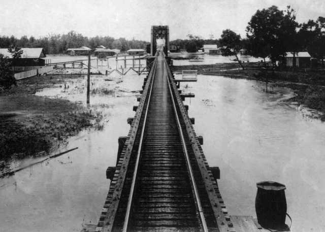 The Southern Pacific Railroad Bridge at Atchafalaya.