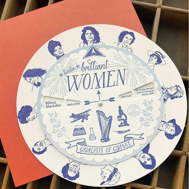 PCblackbird-women-spinner-Brilliant-Women-Spinner,-letterpress-printed,-spins-for-info.jpg